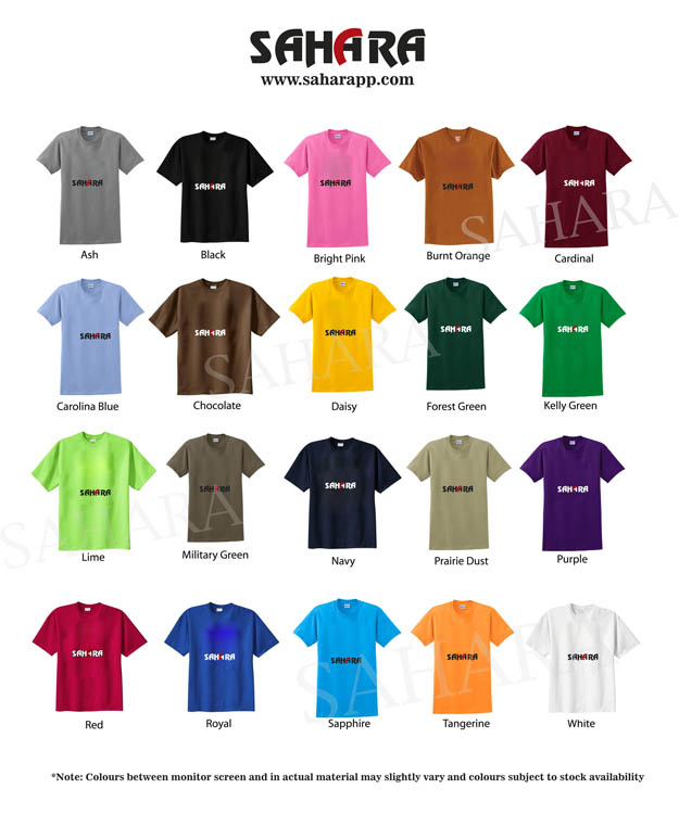 T Shirts Printing in Dubai Color Chart
